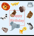 Cute happy birthday card with funny animals vector image