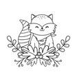 cute raccoon woodland character vector image