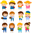 cute school kids vector image vector image