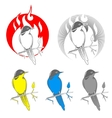Engraving bird nightingale emblem vector image vector image
