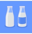 Flat Style Milk Bottle Icon on Blue Background vector image vector image