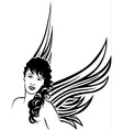 Girl angel tattoo stencil vector image vector image