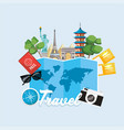 global map and international tour destination vector image vector image