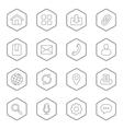 gray line web icon set hexagon vector image vector image