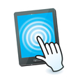 hand cursor and tablet pc with touchscreen - vector image vector image