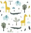 hand drawing safari animals seamless print design