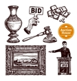 Hand Drawn Auction Set vector image