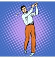 Handsome man playing Golf retro style pop art vector image vector image