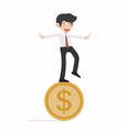 happy business man on goin coin vector image vector image