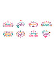 happy easter symbols logo badges vector image vector image