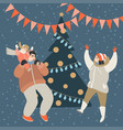 happy family having fun at christmas tree vector image