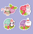 happy merry christmas tags collection vector image
