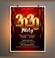 happy new year 2020 invitation flyer template vector image vector image