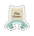 happy valentines day card blue ribbon cut line vector image vector image