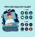 healthy sleep tips infographics causes of vector image