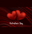 heart on red silk with light valentine s day vector image vector image