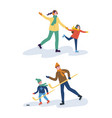 hockey training of father and son mother with kid vector image