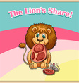 Idiom the lion share vector image vector image
