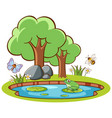 isolated picture frog and insects vector image vector image