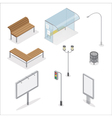 Isometric Urban Objects Traffic Light City Bench vector image