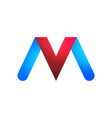 logos letters v and m in blue and red vector image