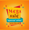mega sale special offer up to 70 off orange backg vector image vector image