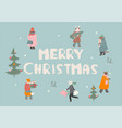 merry christmas greeting card or poster vector image