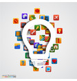 modern creative light bulb with application icon vector image