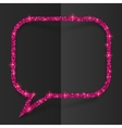 Pink glitter speech bubble frame isolated on black vector image