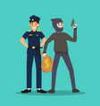 police and thief in different character on sky vector image vector image