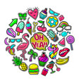 pop art colorful patches round concept vector image vector image