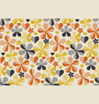 retro orange and yellow color 60s flower motif vector image vector image