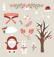 set christmas and new year cute design elements vector image