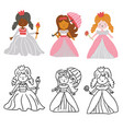 set cute princesses for coloring book vector image vector image