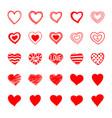 set hand drawn doodle hearts vector image vector image