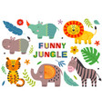 set isolated funny jungle animals part 1 vector image vector image