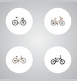 set of bicycle realistic symbols with vintage vector image