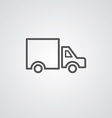 truck outline symbol dark on white background logo vector image