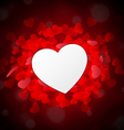 Valentine heart as paper in front of red little vector image vector image