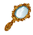 vintage mirror in a gold frame with handle vector image vector image
