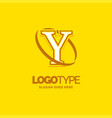 y logo template yellow background circle brand vector image vector image