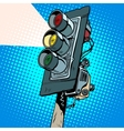 Yellow traffic light vector image vector image