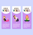 yoga kids flyers design with girls vector image