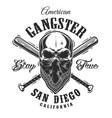 gangster emblem with skull in bandana vector image