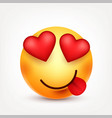 smiley with tongue and heartssmiling emoticon vector image