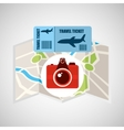 airline ticket map travel photographic camera vector image vector image