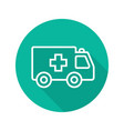 ambulance flat linear long shadow icon vector image vector image