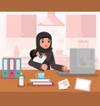 arab working learning mother woman with child home vector image vector image