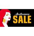 Autumn sale Banner Fashion girl Bold minimal vector image vector image