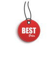 best choice circle paper price red hanging tag 3d vector image vector image